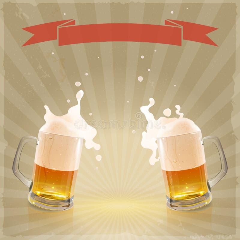 Μπύρα πιντών με το ράντισμα του αφρού απεικόνιση αποθεμάτων