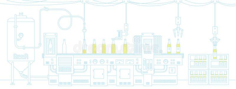 Μπύρα στη ζώνη μεταφορέων διανυσματική απεικόνιση