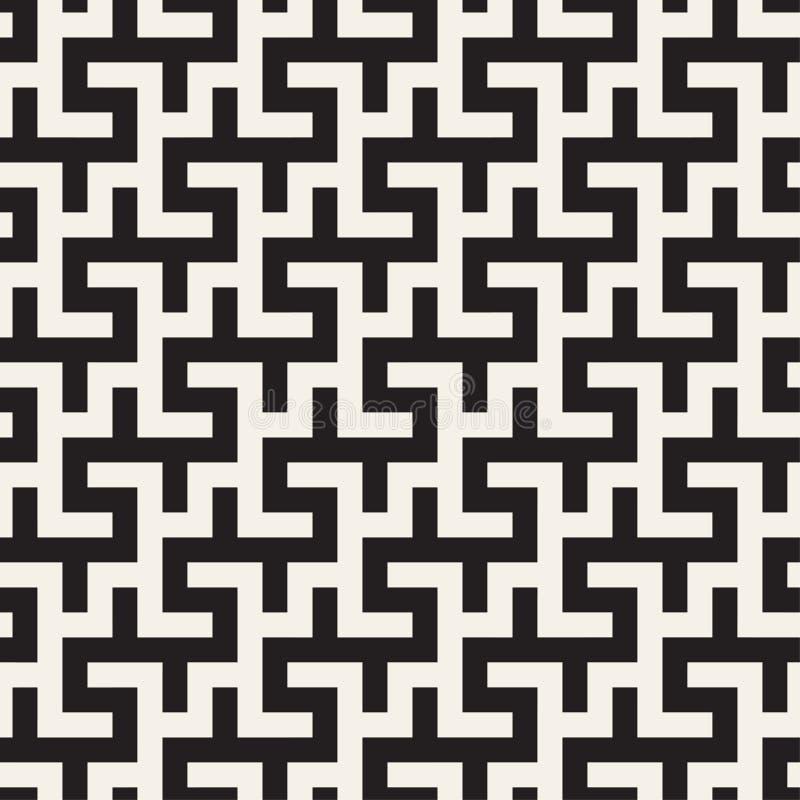 Μπλεγμένος λαβύρινθος σύγχρονος γραφικός γραμμών μαύρο άνευ ραφής διανυσμα& ελεύθερη απεικόνιση δικαιώματος
