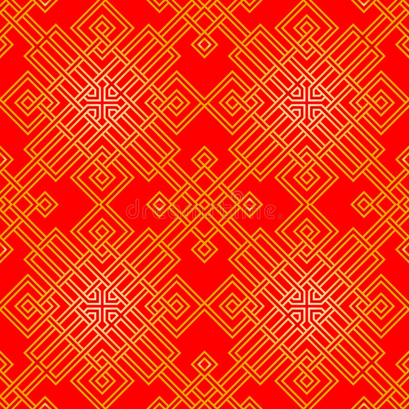 Μπλεγμένο ασιατικό σχέδιο κόκκινος και χρυσός, άνευ ραφής απεικόνιση αποθεμάτων