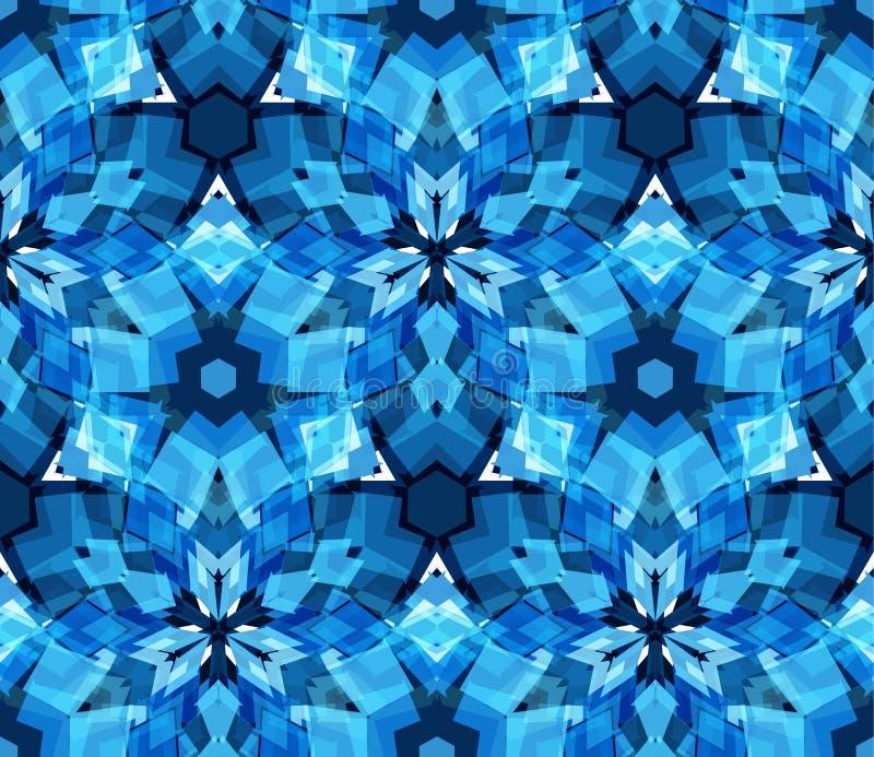 Μπλε άνευ ραφής σχέδιο καλειδοσκόπιων Άνευ ραφής σχέδιο που αποτελείται από τα αφηρημένα στοιχεία χρώματος που βρίσκονται στο άσπ διανυσματική απεικόνιση