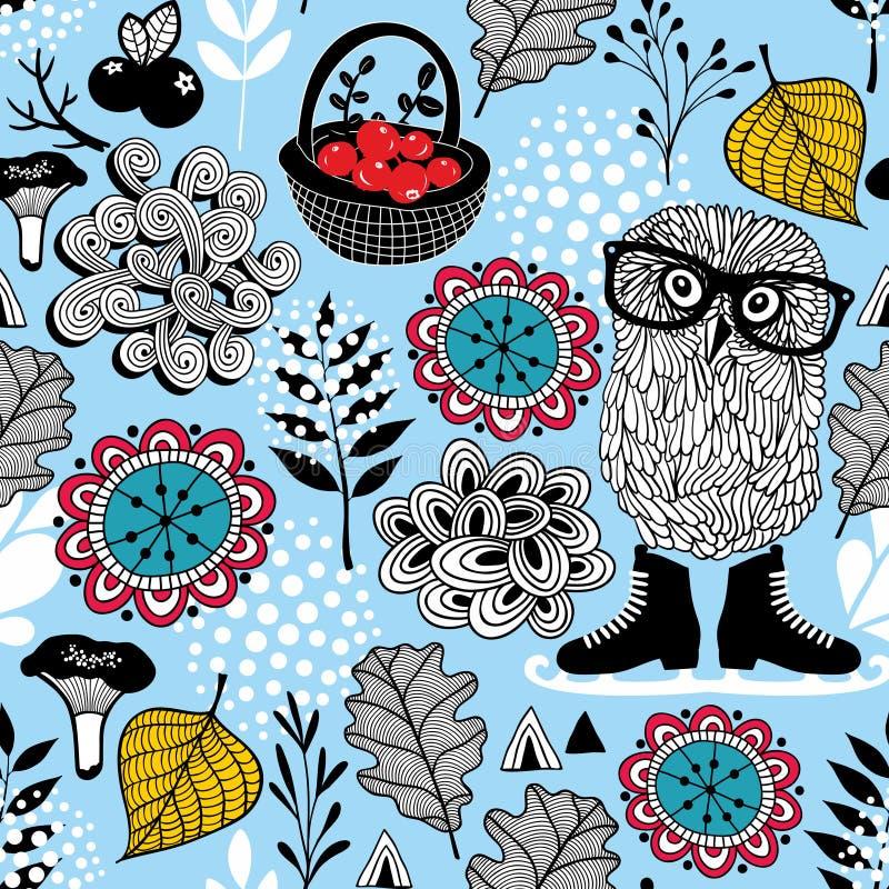 Μπλε άνευ ραφής σχέδιο με την κουκουβάγια eyeglasses Εικόνα Hipster στο διάνυσμα διανυσματική απεικόνιση