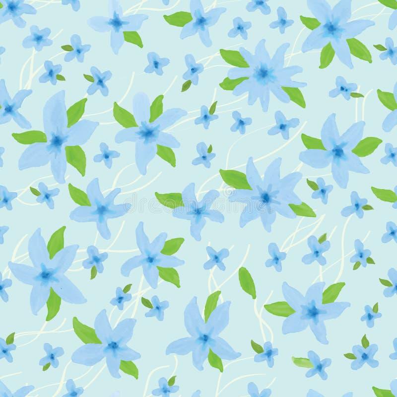 Μπλε άνευ ραφής σχέδιο χρώματος κρητιδογραφιών απεικόνιση αποθεμάτων