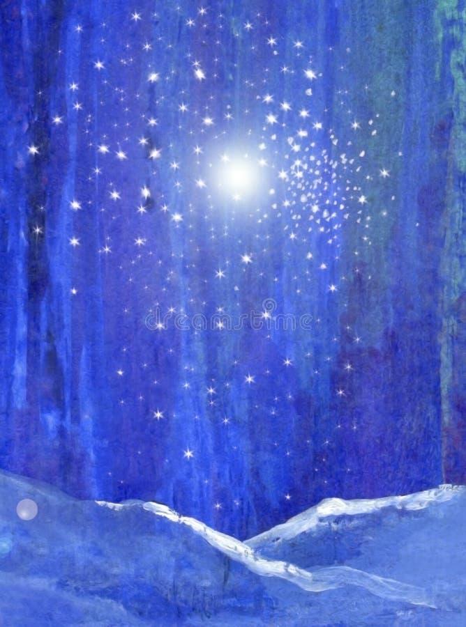 Μπλε δάσος νύχτας με το φως χιονιού και την αρχική τέχνη αστεριών διανυσματική απεικόνιση