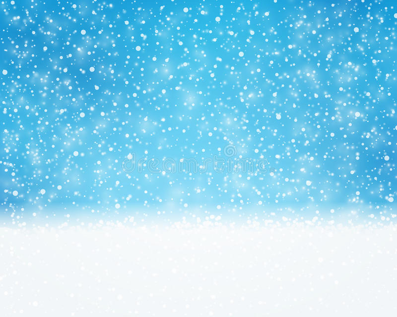 Μπλε άσπρες διακοπές, χειμώνας, κάρτα Χριστουγέννων με τις χιονοπτώσεις απεικόνιση αποθεμάτων