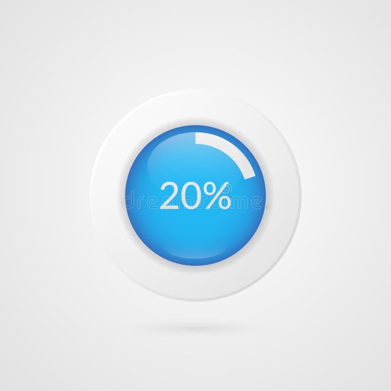 μπλε άσπρο διάγραμμα πιτών 20 τοις εκατό Διανυσματικό infographics ποσοστού Απομονωμένο διάγραμμα σύμβολο κύκλων Εικονίδιο επιχει διανυσματική απεικόνιση
