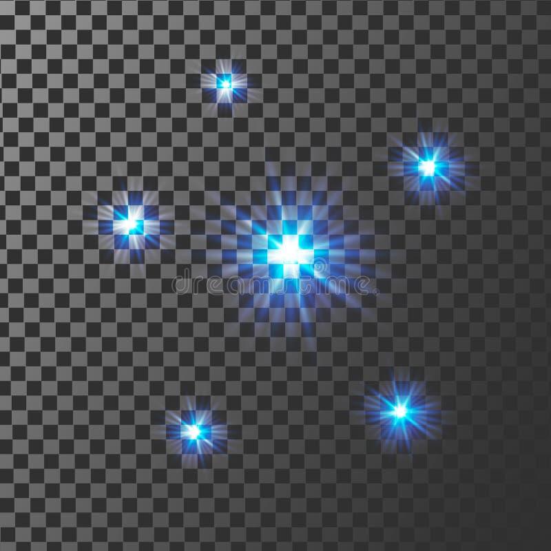 Μπλε έκρηξη έκρηξης πυράκτωσης ελαφριά με διαφανή Διανυσματική απεικόνιση για τα δροσερά σπινθηρίσματα ακτίνων διακοσμήσεων επίδρ διανυσματική απεικόνιση