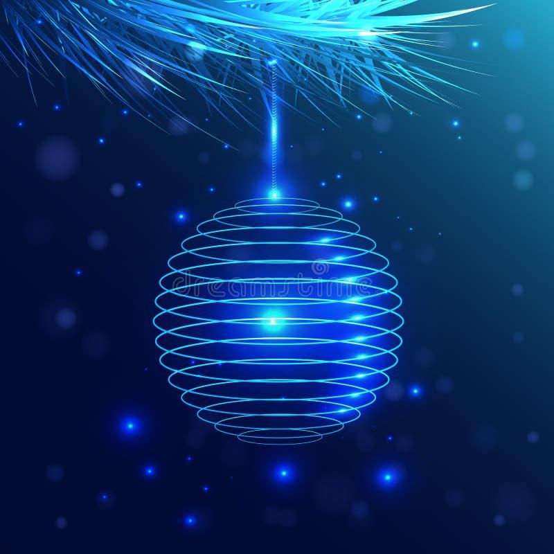Μπλε ένωση σφαιρών σε έναν κλάδο χνουδωτό Φως νέου απεικόνιση αποθεμάτων