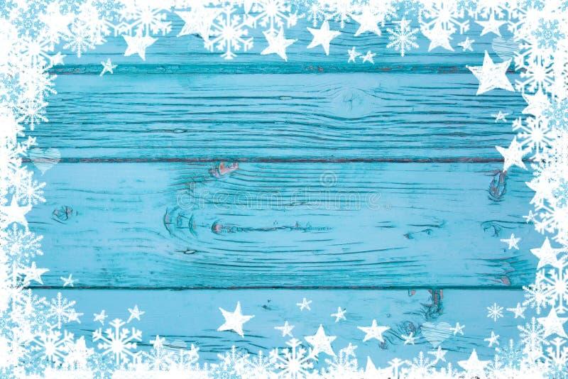 Μπλε ή τυρκουάζ ξύλινο υπόβαθρο για τη διαφήμιση Χριστουγέννων στοκ φωτογραφία