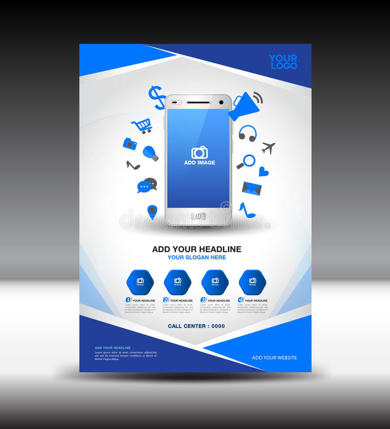 Μπλε αγγελίες περιοδικών σχεδιαγράμματος σχεδίου ιπτάμενων επιχειρησιακών φυλλάδιων, κινητό ι ελεύθερη απεικόνιση δικαιώματος