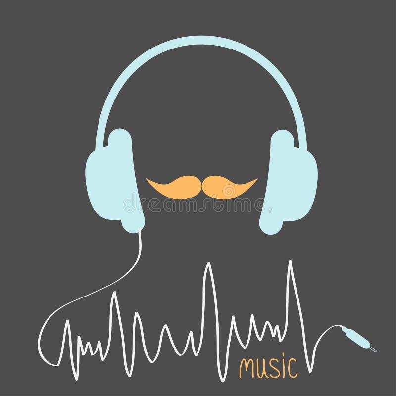 Μπλε ακουστικά με το σκοινί Πορτοκαλιά κάρτα μουσικής moustaches Επίπεδο σχέδιο απεικόνιση αποθεμάτων
