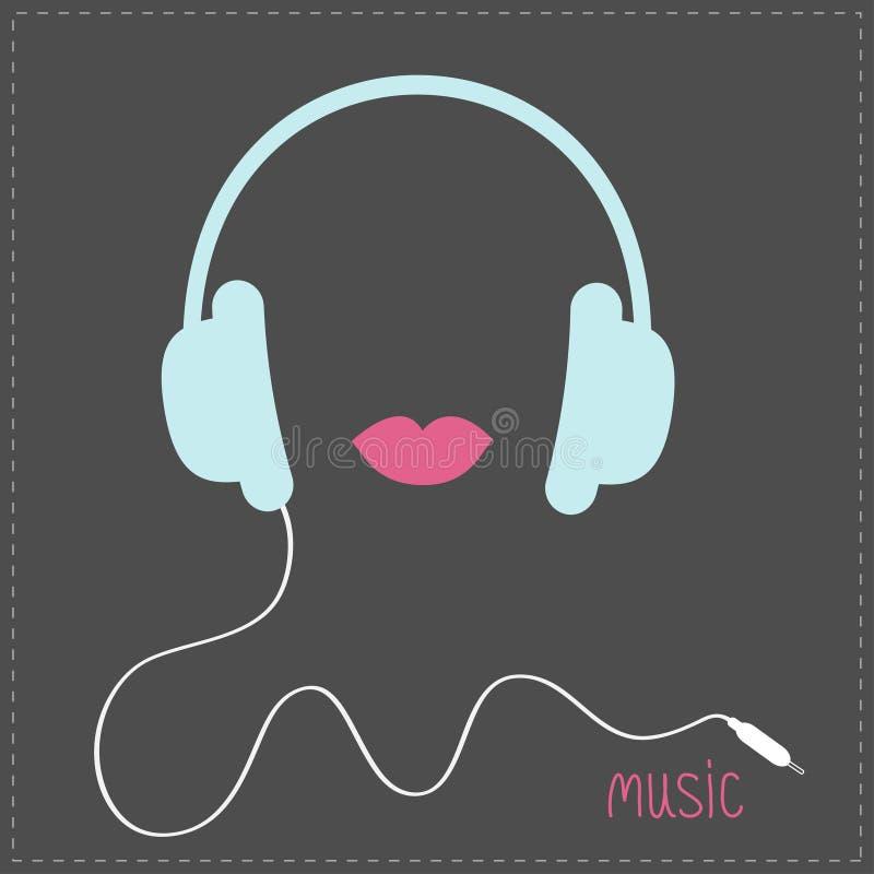 Μπλε ακουστικά με το σκοινί Ροζ κάρτα χειλικής μουσικής Επίπεδο σχέδιο απεικόνιση αποθεμάτων