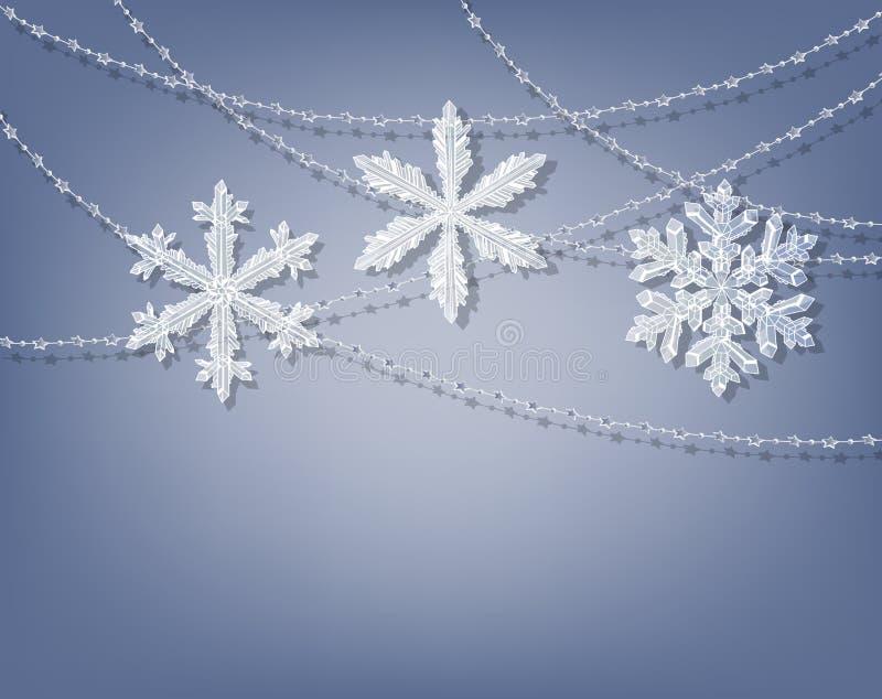 Μπλε ανασκόπηση Χριστουγέννων διανυσματική απεικόνιση