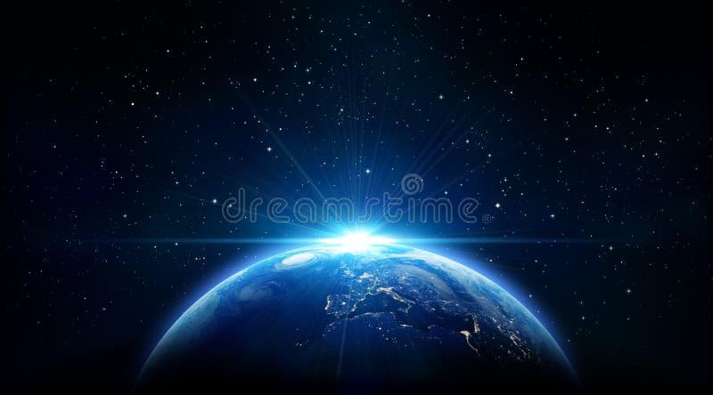 Μπλε ανατολή, άποψη της γης από το διάστημα στοκ εικόνα