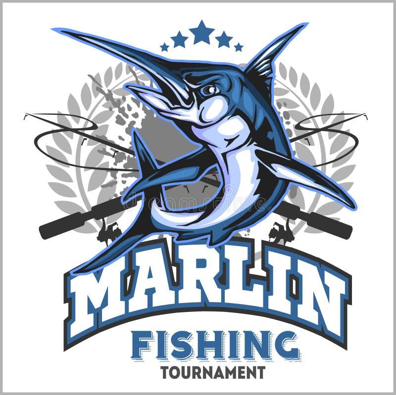 Μπλε απεικόνιση λογότυπων αλιείας μαρλίν επίσης corel σύρετε το διάνυσμα απεικόνισης ελεύθερη απεικόνιση δικαιώματος