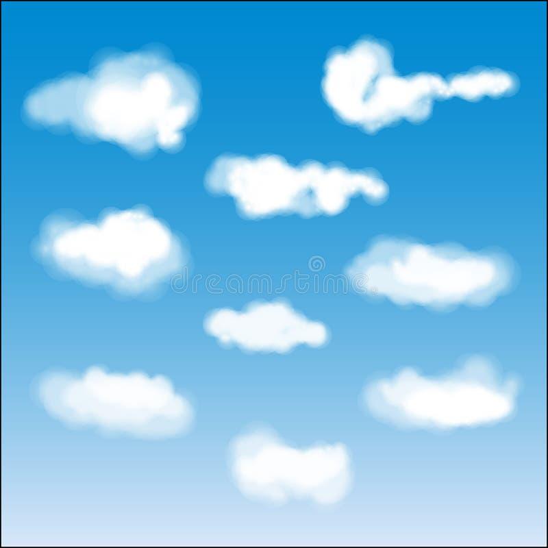 μπλε απεικόνιση σχεδίου σύννεφων κινούμενων σχεδίων ανασκόπησης διανυσματική απεικόνιση
