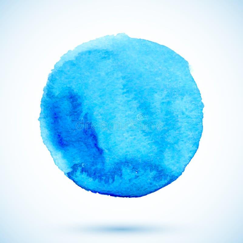 Μπλε απομονωμένος διάνυσμα χρωματισμένος watercolor κύκλος διανυσματική απεικόνιση