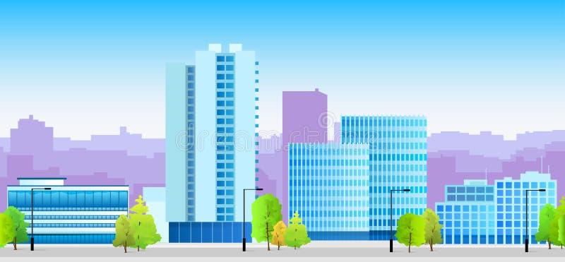Μπλε αρχιτεκτονική απεικόνισης οριζόντων πόλεων διανυσματική απεικόνιση