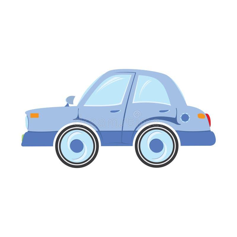 Μπλε αυτοκίνητο που απομονώνεται σε ένα άσπρο υπόβαθρο απεικόνιση αποθεμάτων