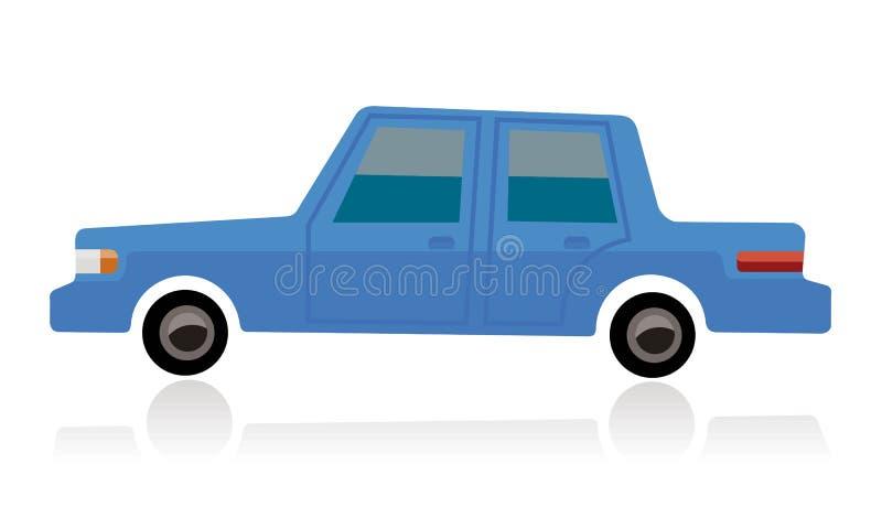 Μπλε αυτοκίνητο, ύφος κινούμενων σχεδίων διανυσματική απεικόνιση