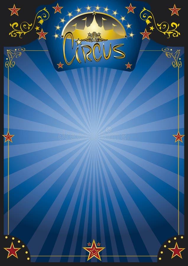 Μπλε αφίσα νύχτας τσίρκων διανυσματική απεικόνιση