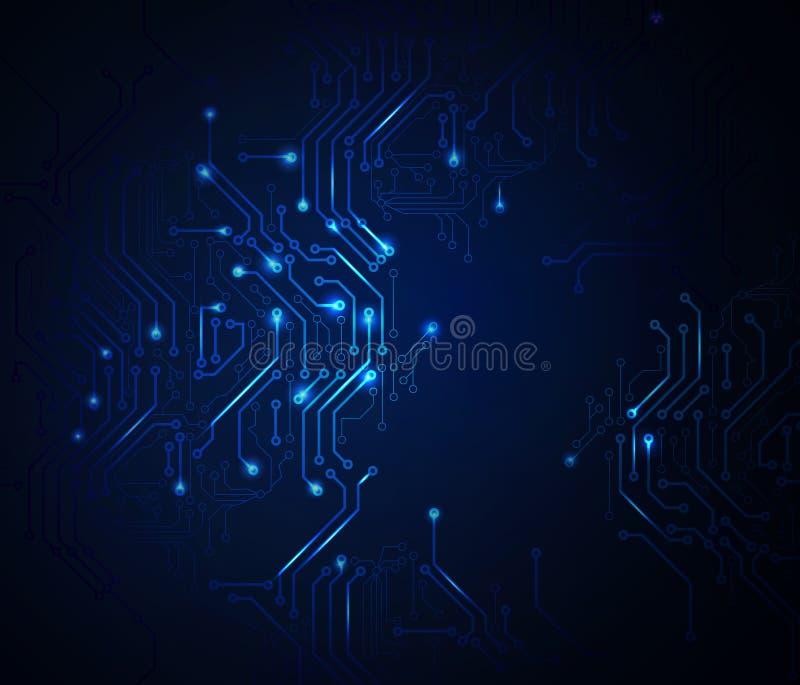 Μπλε αφηρημένο κύκλωμα διανυσματική απεικόνιση