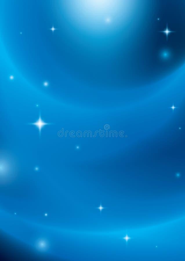 Μπλε αφηρημένο υπόβαθρο με τα αστέρια και τα φω'τα ελεύθερη απεικόνιση δικαιώματος