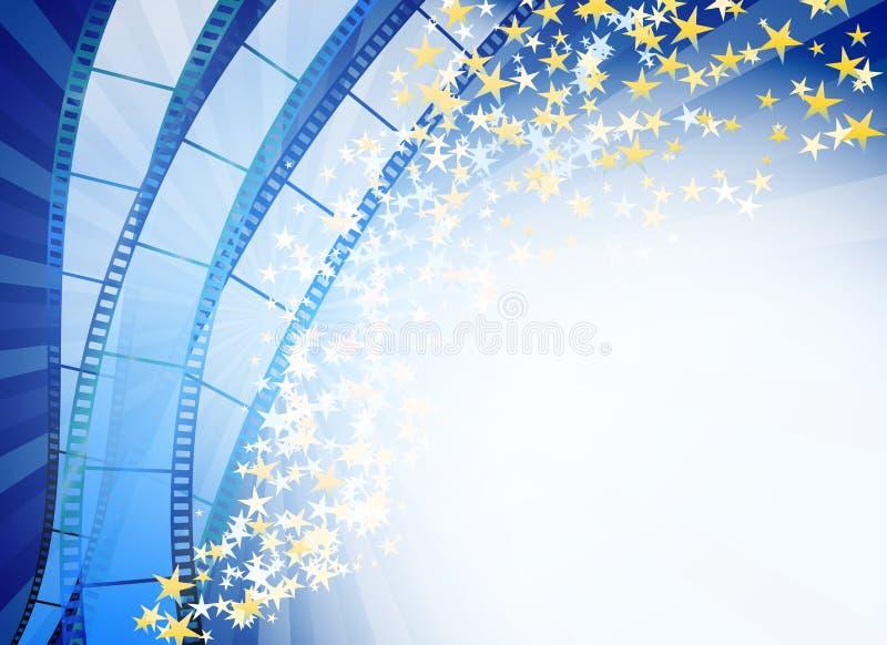 Μπλε αφηρημένο υπόβαθρο με τις αναδρομικές μπλε λουρίδες ταινιών ελεύθερη απεικόνιση δικαιώματος