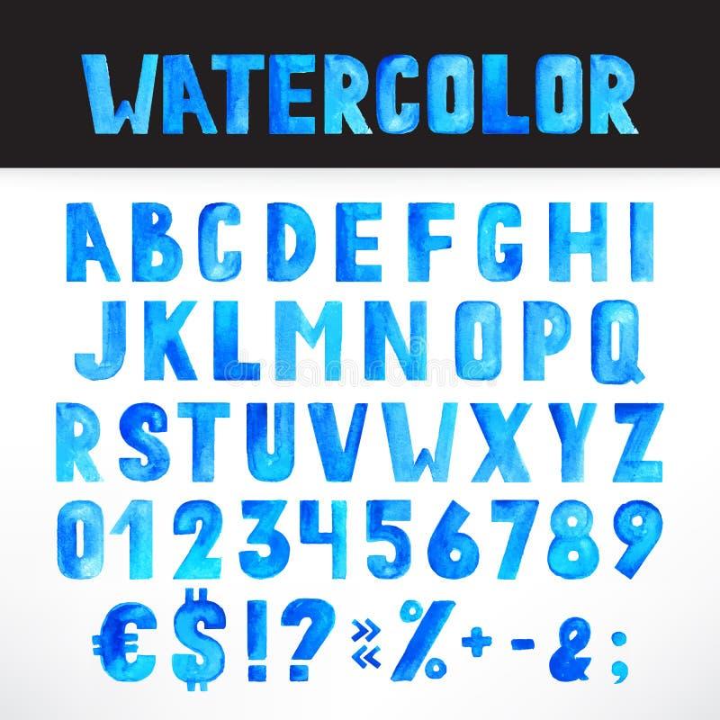 Μπλε αλφάβητο Watercolor διανυσματική απεικόνιση