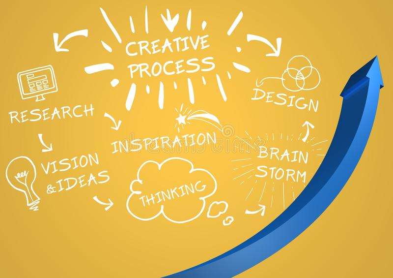 Μπλε βέλος και άσπρο σχέδιο doodles στο κίτρινο κλίμα διανυσματική απεικόνιση