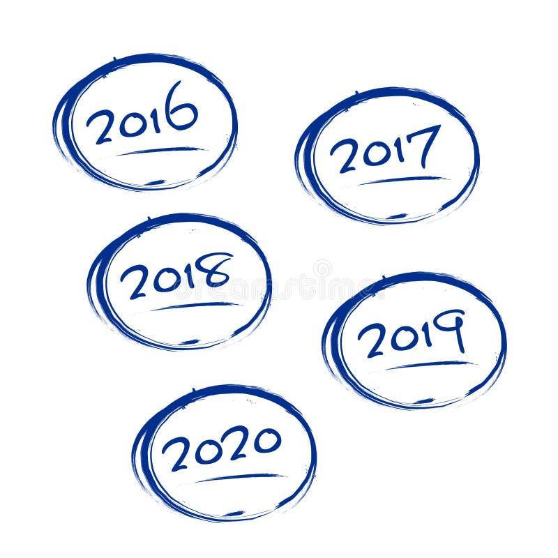 Μπλε βρώμικα πλαίσια με τα σημάδια 2016-2020 ετών διανυσματική απεικόνιση