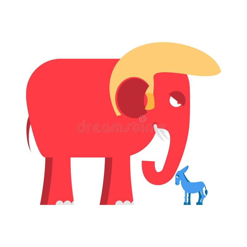 Μπλε γαιδάρων σύμβολαμεγάλου κόκκινου Elephantκαι λίγων πολιτικού διανυσματική απεικόνιση