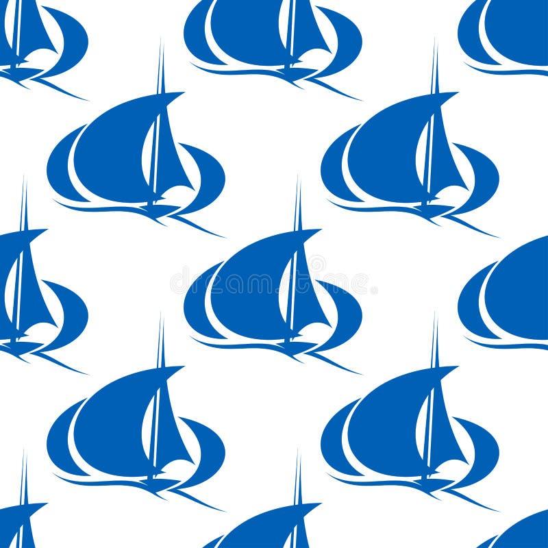 Μπλε γιοτ ή sailboat άνευ ραφής σχέδιο απεικόνιση αποθεμάτων