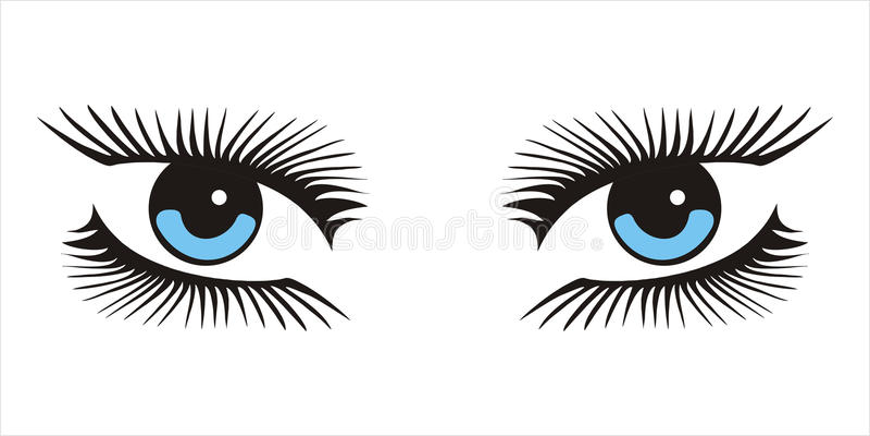 Μπλε γυναίκα που φαίνεται εικονίδιο ματιών στο άσπρο υπόβαθρο απεικόνιση αποθεμάτων