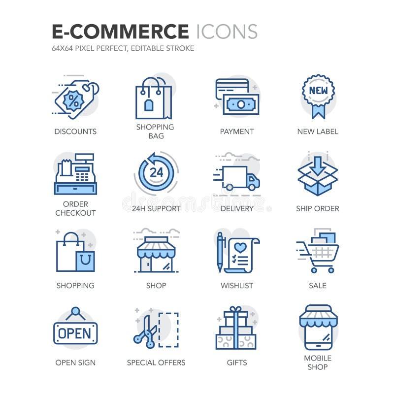 Μπλε εικονίδια ηλεκτρονικού εμπορίου γραμμών ελεύθερη απεικόνιση δικαιώματος