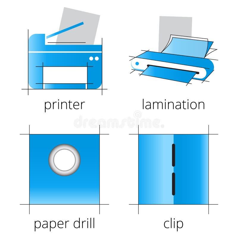 Μπλε εικονίδια υπηρεσιών καταστημάτων εκτύπωσης καθορισμένα Μέρος 6 στοκ φωτογραφία