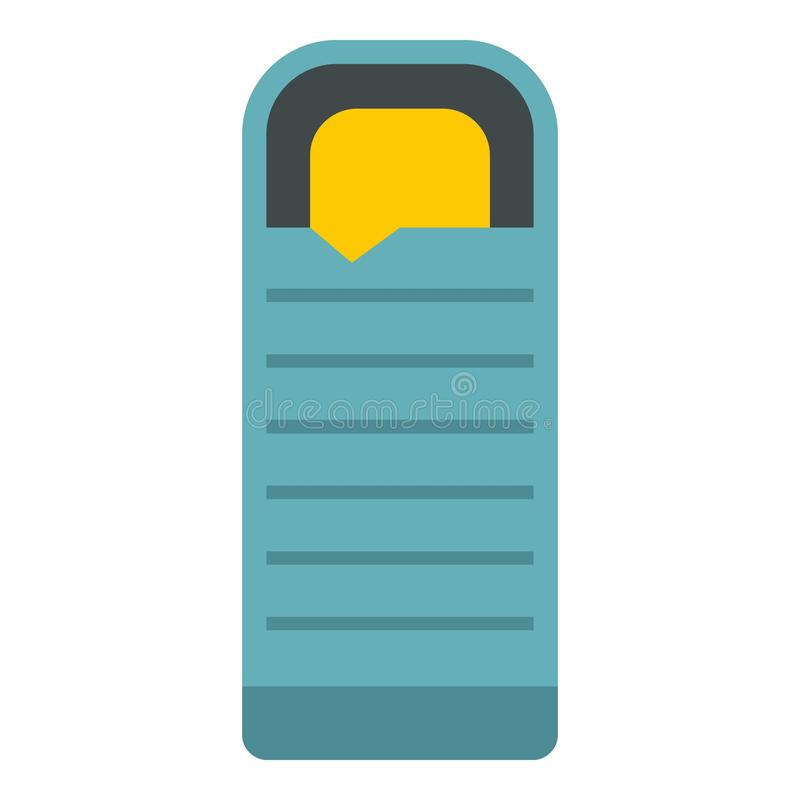 Μπλε εικονίδιο υπνόσακων, επίπεδο ύφος απεικόνιση αποθεμάτων