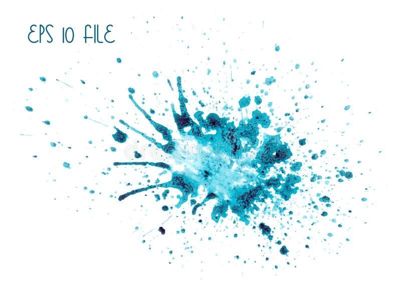 Μπλε λεκές Watercolor στοκ εικόνες