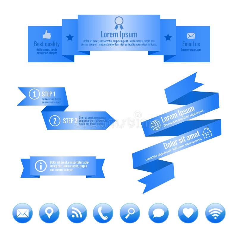 Μπλε εμβλήματα κορδελλών και κοινωνικά εικονίδια μέσων τα στοιχεία αρχειοθετούν το infographic βαλμένο σε στρώσεις χωριστά διάνυσ διανυσματική απεικόνιση