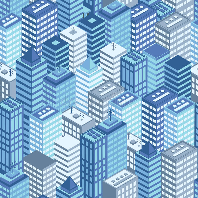 Μπλε επίπεδο isometric άνευ ραφής σχέδιο πόλεων ελεύθερη απεικόνιση δικαιώματος