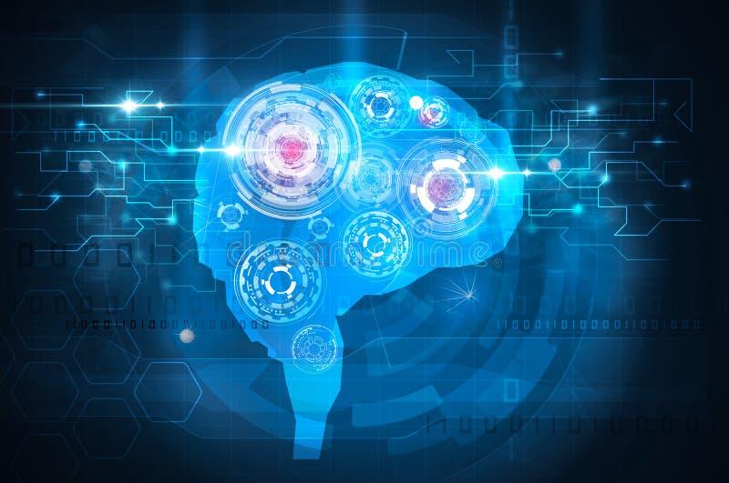 Μπλε επιστήμη τεχνολογίας εγκεφάλου διανυσματική απεικόνιση