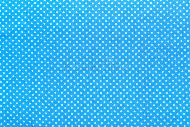 Μπλε επιτραπέζιο ύφασμα βαμβακιού Πόλκα-σημείων στοκ φωτογραφίες