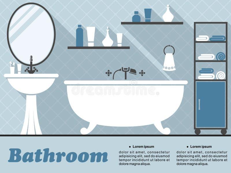 Μπλε εσωτερικός infographic λουτρών ελεύθερη απεικόνιση δικαιώματος