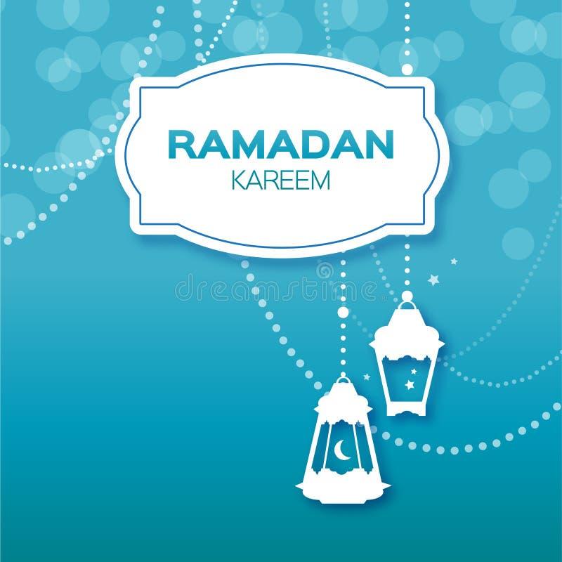 Μπλε ευχετήρια κάρτα εορτασμού Ramadan Kareem Κρεμώντας αραβικοί λαμπτήρες, αστέρια και ημισεληνοειδές φεγγάρι ελεύθερη απεικόνιση δικαιώματος