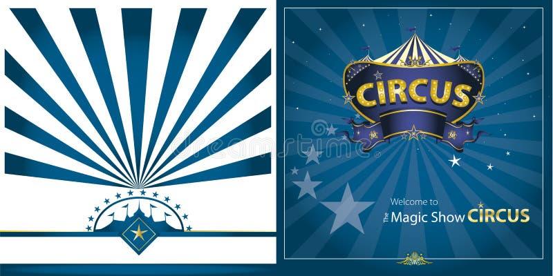 Μπλε ευχετήρια κάρτα τσίρκων ελεύθερη απεικόνιση δικαιώματος