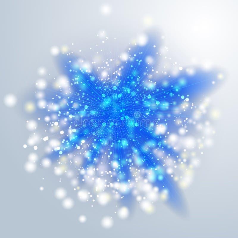 Μπλε ελαφριές ακτίνες ή φωτεινό αστέρι Διαφανής επίδραση πυράκτωσης διάνυσμα απεικόνιση αποθεμάτων