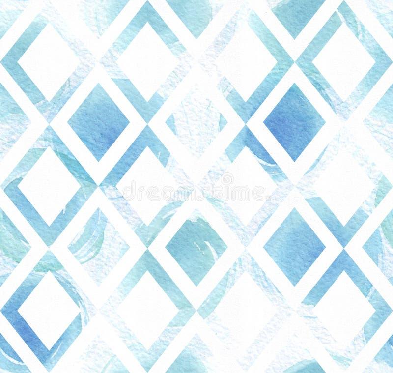Μπλε ζωηρόχρωμη άνευ ραφής απεικόνιση με το γεωμετρικό σχέδιο, βασισμένο συρμένο επίχρισμα βουρτσών σύστασης και watercolor ρόμβω απεικόνιση αποθεμάτων