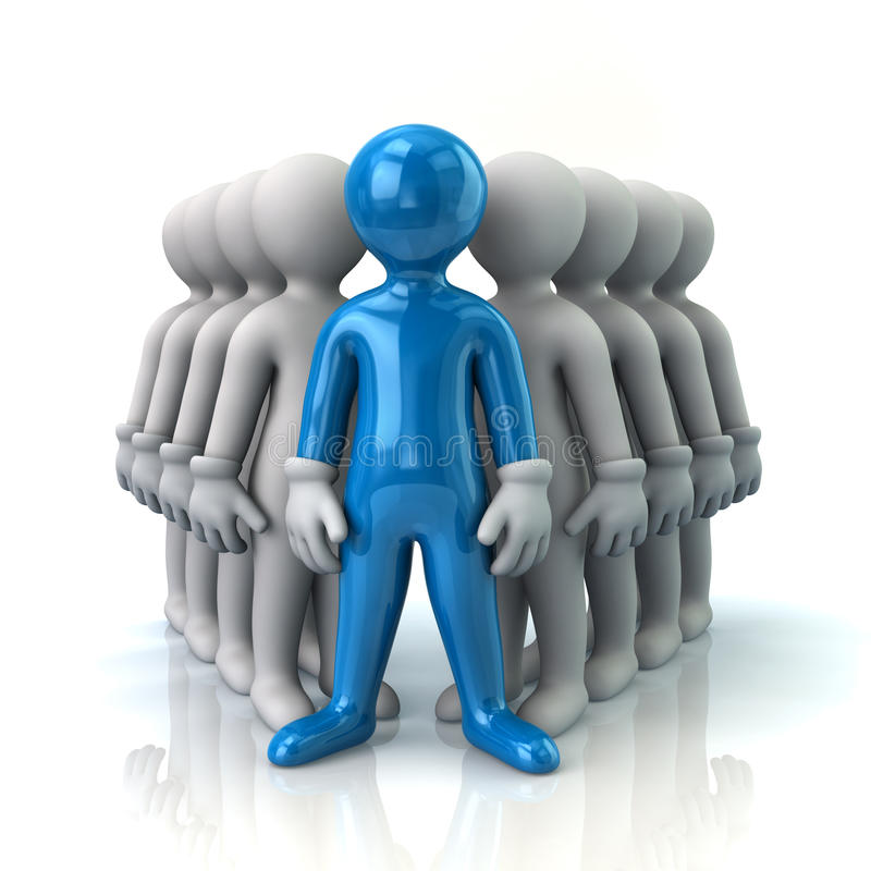 Μπλε ηγέτης και ομάδα απεικόνιση αποθεμάτων