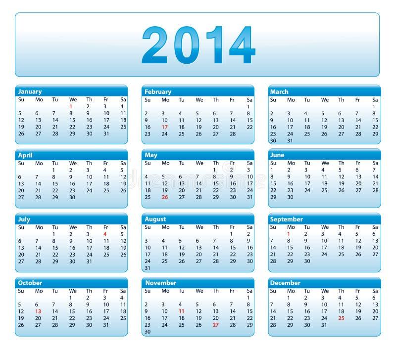 Μπλε ημερολόγιο του 2014. Αμερικανική εκδοχή. ελεύθερη απεικόνιση δικαιώματος