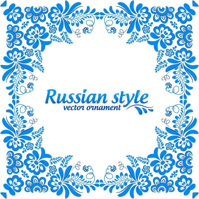 Μπλε διακοσμητικό floral πλαίσιο στο ύφος gzhel ελεύθερη απεικόνιση δικαιώματος